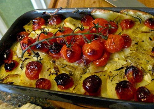 Baked, tomato, onion , potato and savory.